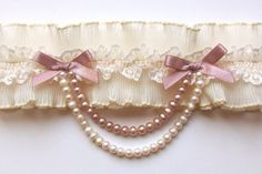 ivory pleated french lace bridal garter with