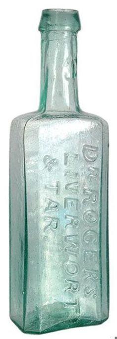 Dr Rogers Liverwort & Tar, Aqua, 7 inch A Dr Rogers Liverwort & Tar aqua colored glass medicine bottle