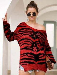 Printed Slit Long Sleeve V-neck Sweater Loose Sweater, Long Sleeve Sweater, Leopard Sweater, Red Leopard, Color Khaki, Cozy Sweaters, Sweater Fashion, Going Out, V Neck