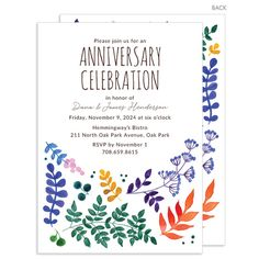 Personalized Watercolor Botanicals Invitations