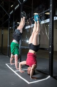 Handstand push-up, bottom position. Julie Foucher. #CrossFit