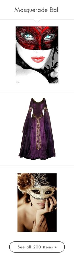 """Masquerade Ball"" by polylover-katt ❤ liked on Polyvore featuring masquerade, mask, dresses, medieval, gowns, costumes, masks, gaia, gold costume and gold halloween costumes"