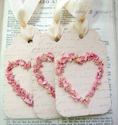 Love Tags with real flower petals