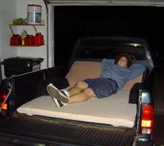 How to Make a Drive In Movie Theater Truck Bed Couch -- via wikiHow.com put memory foam on bottom part also....
