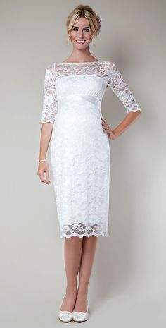 Vestido novia premamá. Amelia Lace Maternity Dress Short (Ivory) by Tiffany Rose