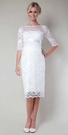Vestido novia premamá. Amelia Lace Maternity Dress Short (Ivory) by Tiffany Rose