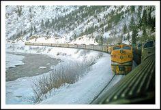 California Zephyrs Meet in Glenwood Canyon - 1968 Glenwood Canyon, California Zephyr, Vintage Trains, Colorado River, Train Travel, January, Meet, Snow, History