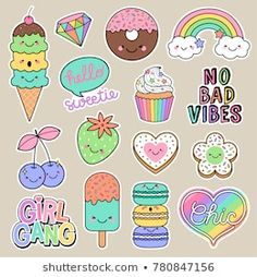 Set of girl fashion patches, cute cartoon badges, fun stickers desserts vector, positive thinking words design. - Buy this stock vector and explore similar vectors at Adobe Stock Printable Stickers, Cute Stickers, Planner Stickers, Kawaii Drawings, Cute Drawings, Griffonnages Kawaii, Doodles Kawaii, Cartoon Mignon, Tumblr Stickers
