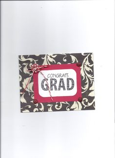 Handmade black white and red graduation card by CreativityByJudy
