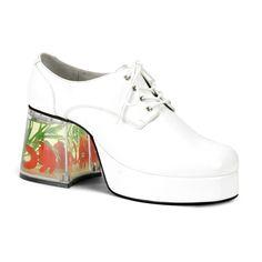 5b67da148ea 3 Inch Men  Shoes Platform Filled Heel Fish Retro Disco White E