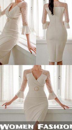 Casual Sexy Show Thin V Neck Lace Splicing Maxi Dresses - Trendy Dresses Trendy Dresses, Women's Dresses, Casual Dresses, Fashion Dresses, Formal Dresses, Fashion Fashion, Fashion Women, Wedding Dresses, Vestidos Sexy