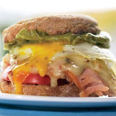 Sunrise Sandwich with Turkey, Cheddar, and Guacamole http://www.womenshealthmag.com/weight-loss/healthy-breakfast-recipes?slide=26