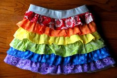 Meaningful Mama says she doesn't sew much, but how cute is this rainbow ruffle skirt she made for her little girl?  Click through for the tutorial.