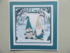 Kerst gnomes Create Christmas Cards, Christmas Cards 2018, Christmas Paper Crafts, Christmas Gnome, Christmas Makes, Xmas Cards, Handmade Christmas, Box Noel, Marianne Design Cards