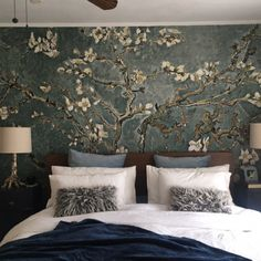Cherry blossom wallpaper, Chinoiserie wall mural, Removable wallpaper, Peel and stick, Wall art Country Bedroom Design, French Country Bedrooms, Japanese Style Bedroom, Cherry Blossom Wallpaper, Design Your Own Home, Removable Wall Murals, Chinoiserie Wallpaper, Asian Home Decor, Home Decor Bedroom