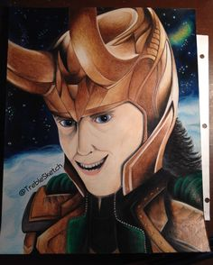 Loki drawing is done! Took about 13 hours of work and lots of shading with crayons and colored pencils!