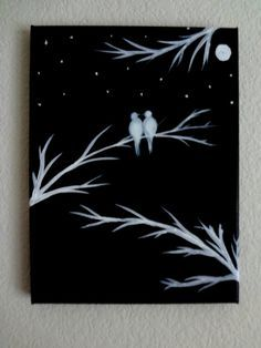Black and white Acrylic painting canvas art Love birds silhouette Canvas painting Wall decor I love you to the moon and back Birds on tree