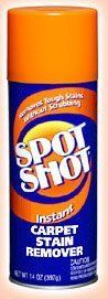 Spot Shot 009869 Aerosol Instant Carpet Stain Remover, 14 oz. by Spot Shot. $15.49. Spot Shot instant carpet stain remover. Take aim at tough carpet stains! Spot Shot is the leading carpet stain remover! Spot Shot Instant Carpet Stain Remover instantly powers out the toughest carpet stains. Old stains or new, Spot Shot works great on pet stains, coffee, spaghetti sauce, grease and oil, marker, wine and more!