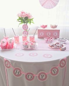Breast Cancer Awareness table set up [more at pinterest.com/eventsbygab]