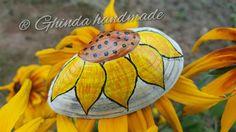 Painted seashell as a brooch, sunflower model