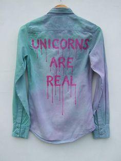 Unicorn Pastel Goth Denim Shirt Aesthetic Clothing Tie Dye