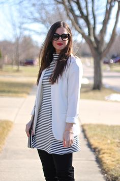 #FabFound Free People Striped Grey & White Dress