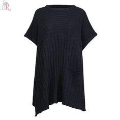 Dark Grey Knitted Cape Sweater Long Jumper Pullover Pocket Side Split Half Batwing Sleeve Loose Casual Oversized Women Fall