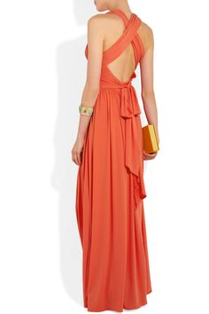 Bridesmaid Maxi Dresses, Stretch Jersey Gown, coral bridesmaid dress.