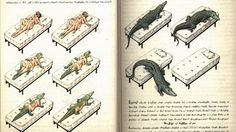 A couple having sex metamorphoses into a crocodile. Fish eyes from some weird creature float on the surface of the sea, staring at me. A man is riding his own coffin. Text accompanies these surreal images, handwritten, seemingly ancient but totally unintelligible. I've just stepped into the bizarre universe of Codex Seraphinianus, the weirdest encyclopedia in the world.