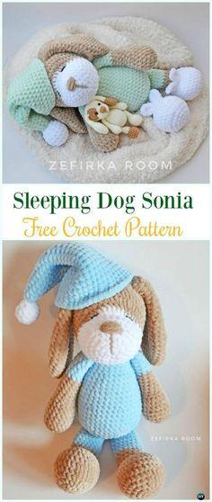 Crochet Sleeping Dog Sonia Amigurumi Free Pattern - #Amigurumi Puppy #Dog Stuffed Toy Crochet Patterns