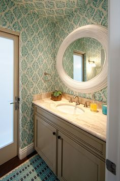 The bathroom wallpaper (Galbraith & Paul Ivy Paisley in China Blue) is fantastic