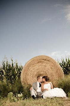 Country Wedding Pictures with Hay Bale