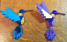 Cute quilled hummingbirds in husking technique