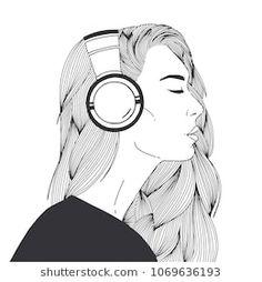 Girl with Headphones | Girl with headphones, Drawings