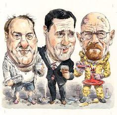 Gandolfini, Hamm, and Cranston by JohnCuneo