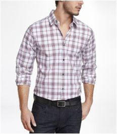 Dress your man in this extra slim plaid dress shirt for a day at the office, or even dinner on the weekends. (Via www.express.com)