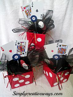Casino Night Dice Centerpieces- make a little larger scale
