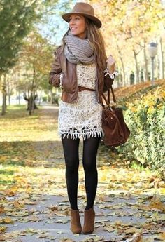 Women's Brown Suede Ankle Boots, Black Wool Tights, Brown Suede Tote Bag, White Crochet Casual Dress, Brown Leather Belt, Brown Leather Bomber Jacket, Grey Knit Scarf, and Brown Wool Hat