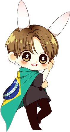 sticker by Discover all images by Find more awesome bts images on PicsArt. Jungkook Fanart, Jungkook Cute, Kpop Fanart, Bts Kawaii, Kawaii Chibi, Chibi Bts, Anime Chibi, Cutest Bunny Ever, Bts Anime