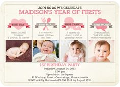 Share all of their firsts in this first birthday party invitation! parti invit, birthday party invitations, birthday parties, martini, birthday idea, first birthdays, watermelon, 1st birthdays, tiny prints
