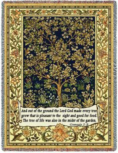 Tree Of Life with Scripture Art Tapestry Throw