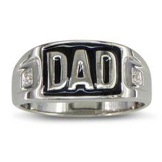 Hansa Diamonds Sterling Silver Men's Diamond Accent 'Dad' Ring (Size 11), White