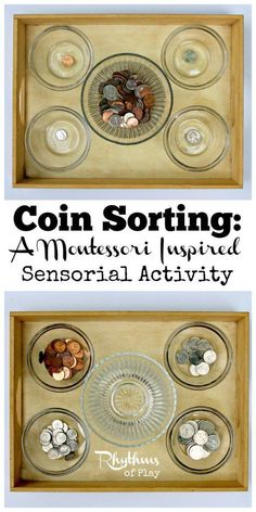 Working with sensorial materials allows children to classify the things around them. Completing these types of sorting activities will ultimately prepare them for reading and mathematics. activities Coin Sorting: A Montessori Inspired Sensorial Activity Dementia Activities, Sorting Activities, Sensory Activities, Toddler Activities, Elderly Activities, Baby Sensory, Pre School Activities, Indoor Activities, Montessori Preschool