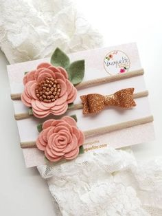 Baby headbands Blush and rose gold Mini Flowers and Bow - Бантик - Diy Baby Headbands, Felt Headband, Floral Headbands, Baby Bows, Gold Headbands, Felt Flowers, Fabric Flowers, Crochet Wrap Pattern, Felt Baby