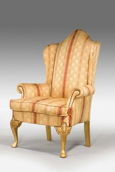 19th century gilt wood wing chair ref no windsor house antiques