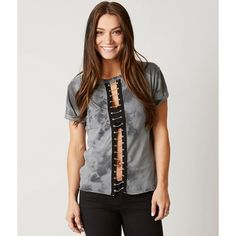 Standard Supply Studded Top ($38) ❤ liked on Polyvore featuring tops, grey, tye dye tops, gray top, tie die tops, grey top and tie dyed tops