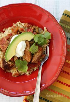 Slow Cooker Pork and Green Chile Stew -  Serve this with tortillas, or over brown rice with a little light sour cream and a slice of avocado if you wish and you'll have a delicious meal.