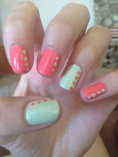 Coral and mint nails