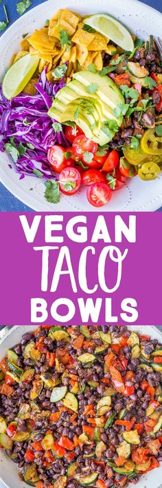These Vegan Taco Bowls are loaded with all your favorite taco fillings and toppings but so much easier to eat! You don't have to mess with the toppings falling out the back and they taste just like regular tacos! Easy to make and very customizable! Kid friendly and great for meal prep too! #Tacos #vegantacos #tacobowl #mealprep