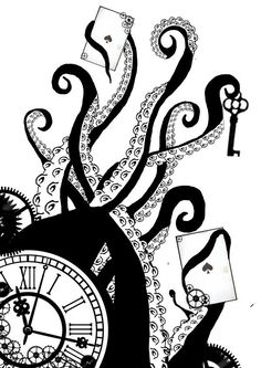 how to draw octopus tentacles Octopus Pictures, Ocean Pictures, Octopus Drawing, Octopus Painting, Clock Art, Clocks, Steampunk Clock, Decoupage, Bullet Journal Themes
